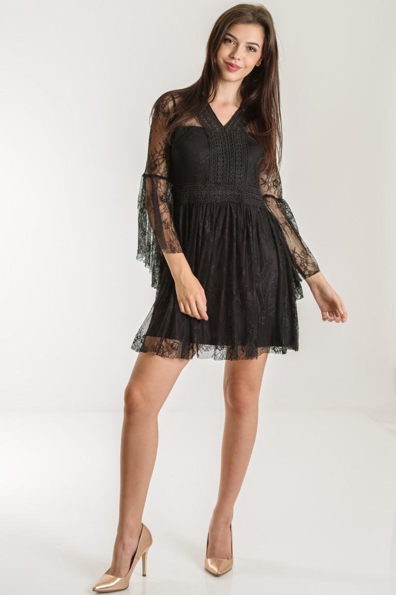 Pantofi pentru rochie neagra dantela